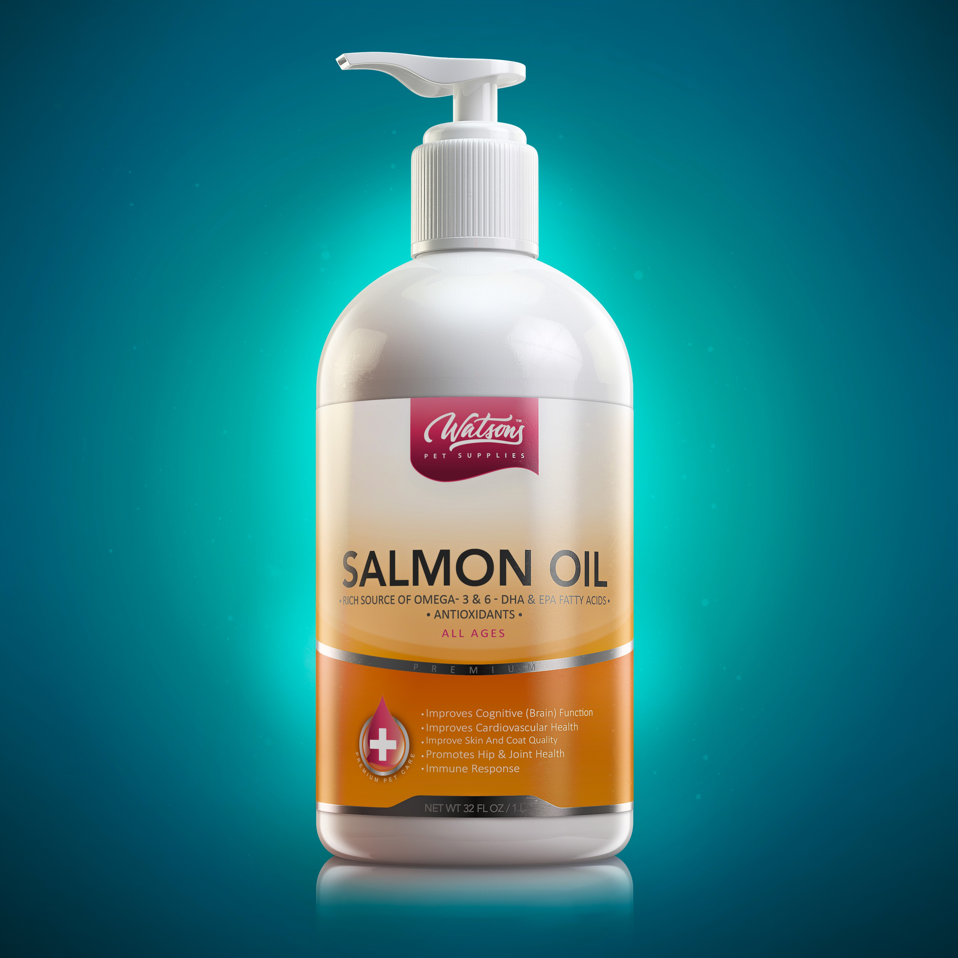 Salmon Oil Label Design and 3D Rendering