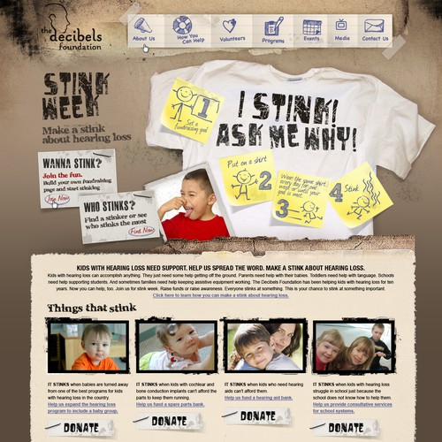 Create the website design for Stink Week fundraiser for Decibels Foundation.