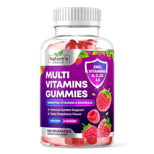 Multivitamin Gummies for Adults Label Design