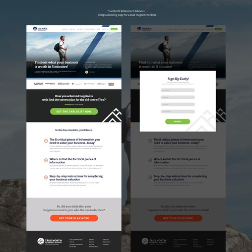 Design a landing page for a lead magnet checklist