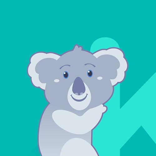 Friendly Koala Hugging Letter K