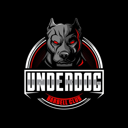 PITBULL DOG ANIMAL CARTOON CHARACTER FOR UNDERDOG BARBELL CLUB