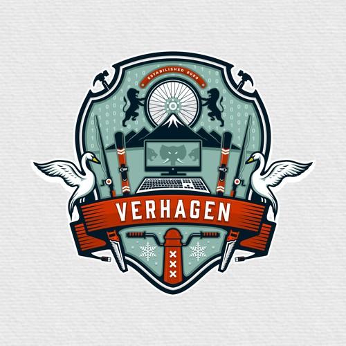 Verhagen (Bike, Lion, Mountain, PC, IT, Snowboarding, Verhagen etc)Family Crest Logo designs