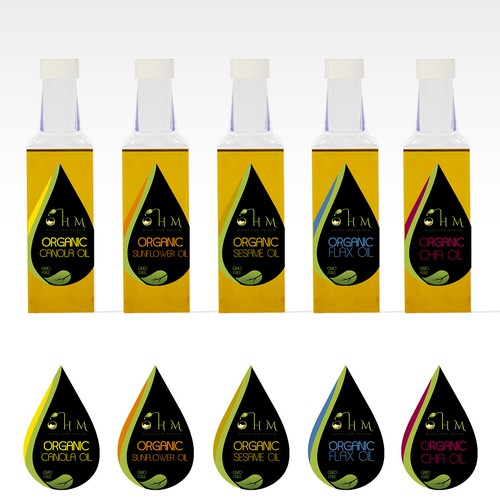 Create a label for a new line of pure, origin controlled, GMO-free, virgin vegetable oils.
