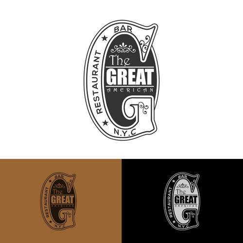 "logo design for ""the great american"" Restaurant & bar"