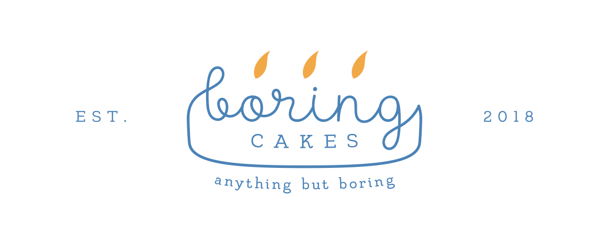 Boring Cakes business cards and stickers.