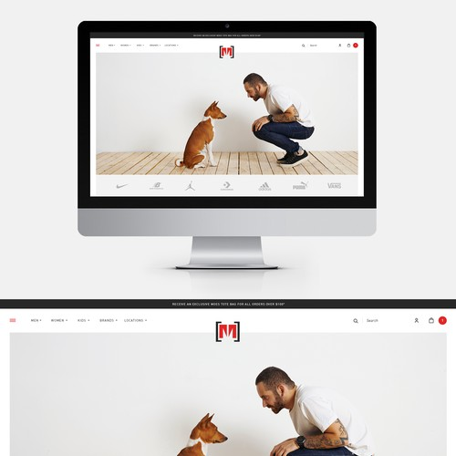 Homepage design for a NYC shoe store