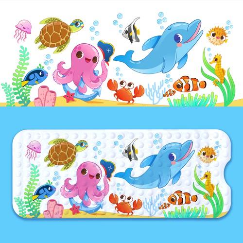 Illustration marine animals
