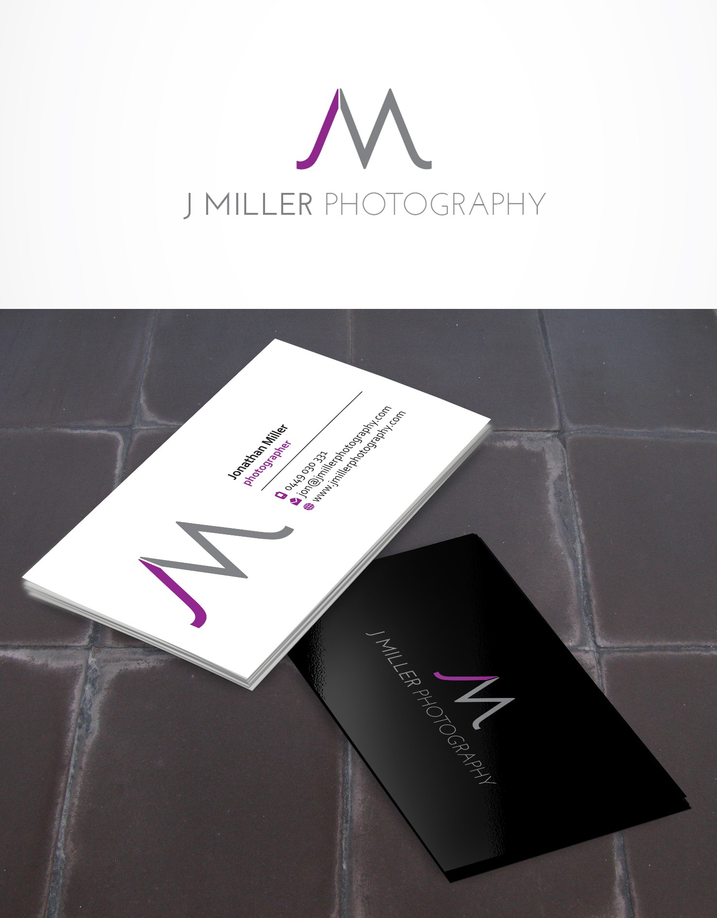 Create the next logo and business card for J Miller Photography