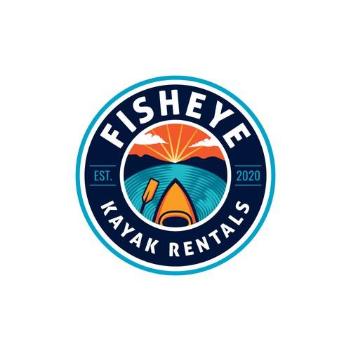 Emblem style logo for kayak rentals business