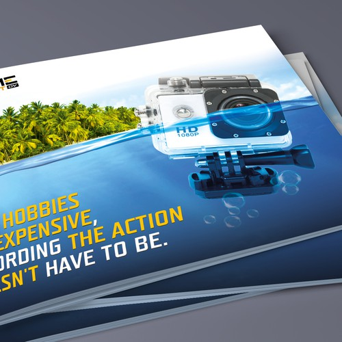 Design a captivating product postcard for the most affordable action camera!