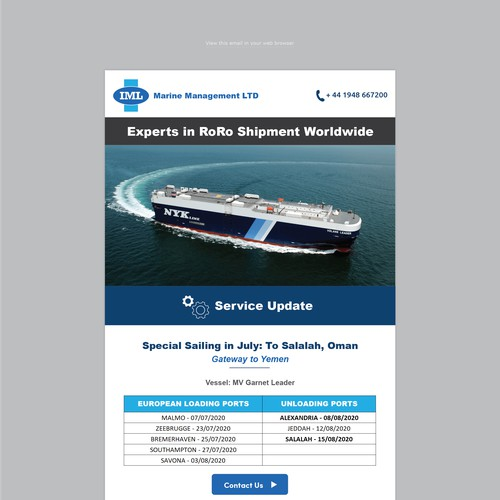 Adaptive Monthly Newsletter for a shipping company
