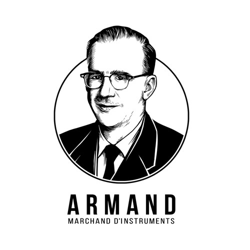 Create a distintive portrait logo for a music store