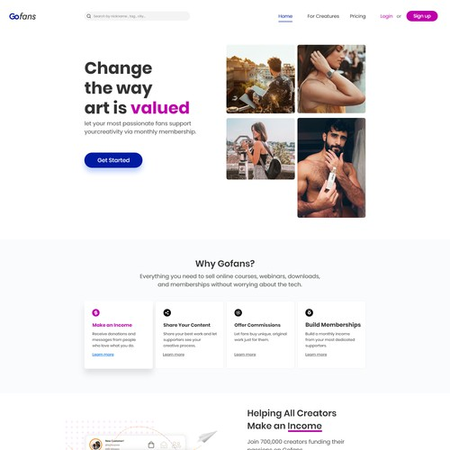 Landing page for Gofans