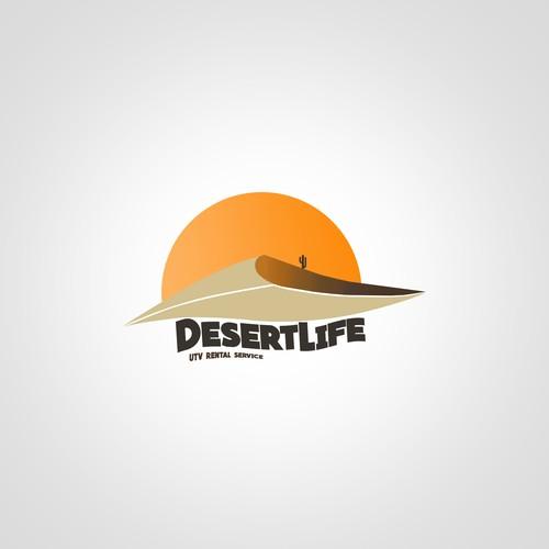 A logo for Desert Life UTV rental company