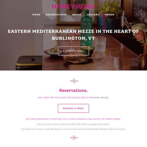Honey Road Restaurant Website Design