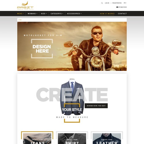 webdesign for a creative webshop for exclusive custom made fashion