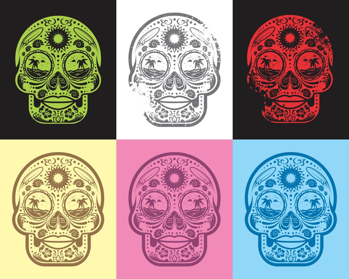 t-shirt design - Sugar Skull Beach Girl theme