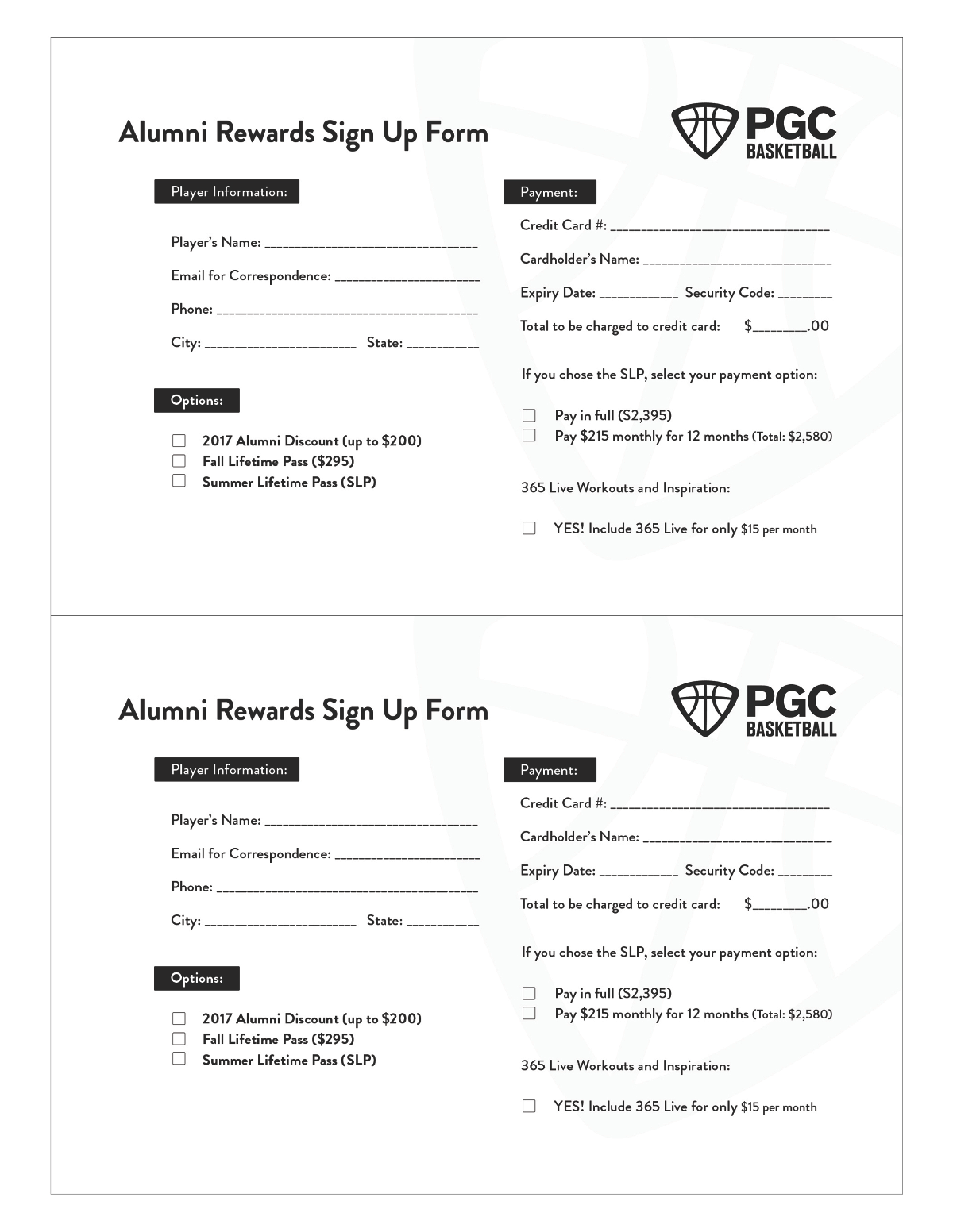 PGC Alumni Rewards Sign up Form