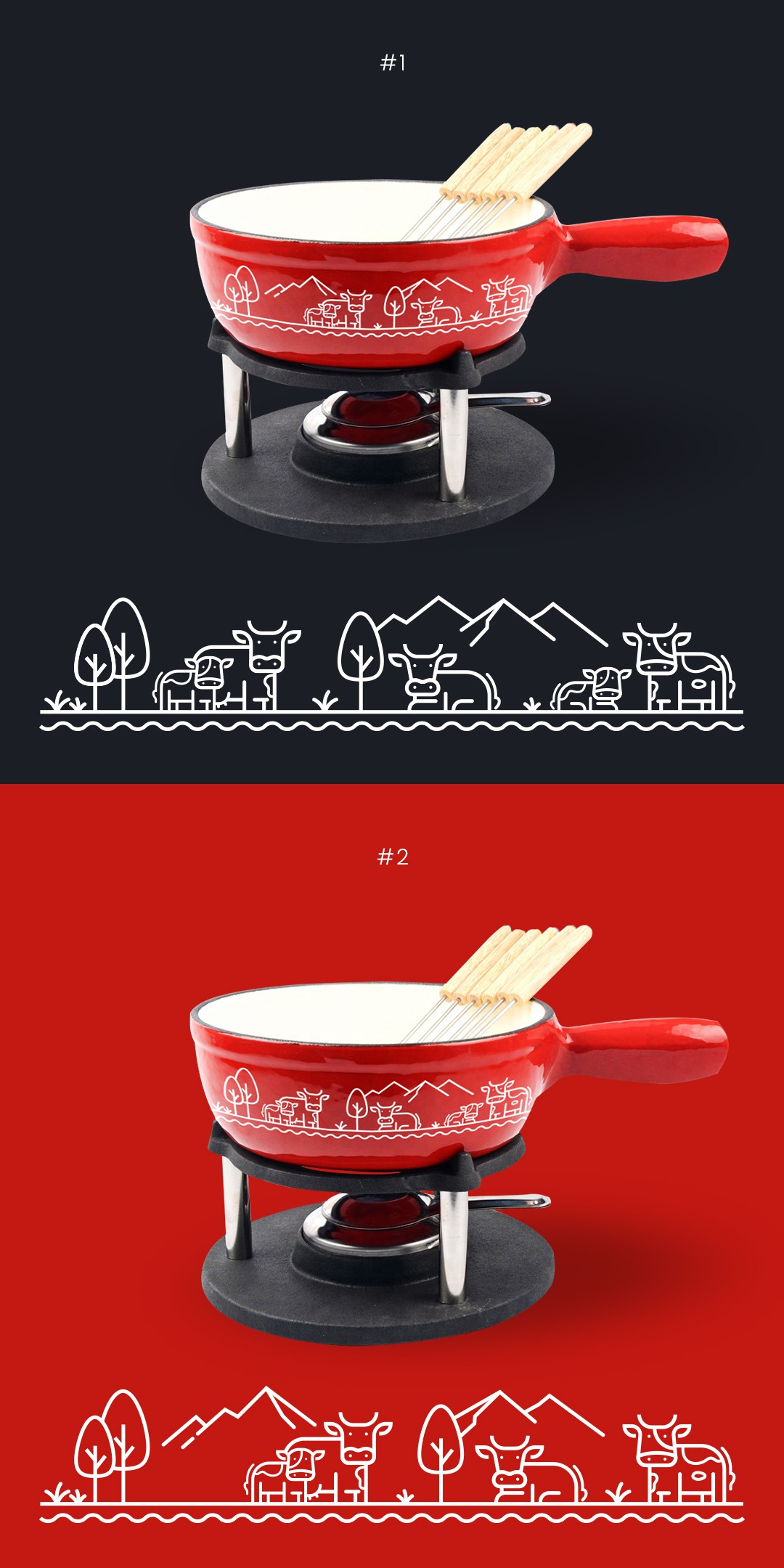 Mooo!! Elevate a normal cookware with a classy, sophisticated and clean cow design!
