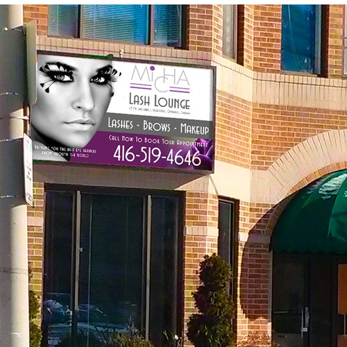 Create a stunning Storefront Sign for MICHA Lash Lounge