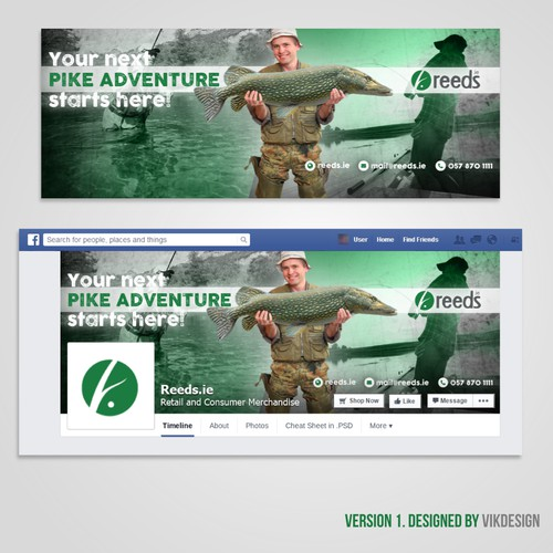 Create a nature/outdoors inspired design for a fishing retailer