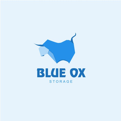 Blue ox logo design, orgami inspired