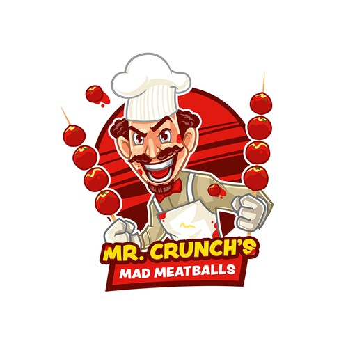 Mascot Logo for Mr. Crunch's Mad Meatballs