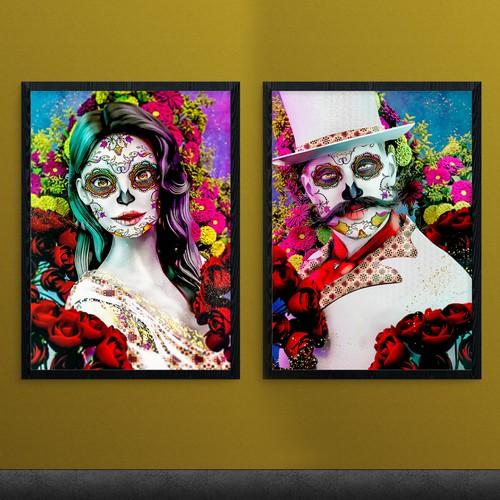 Día de los muertos paintings.