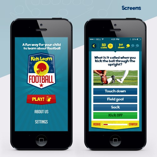 Create a mobile design for Teach Kids Football