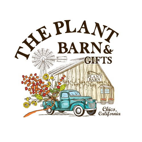 Retro logo design for The plant barn and gifts