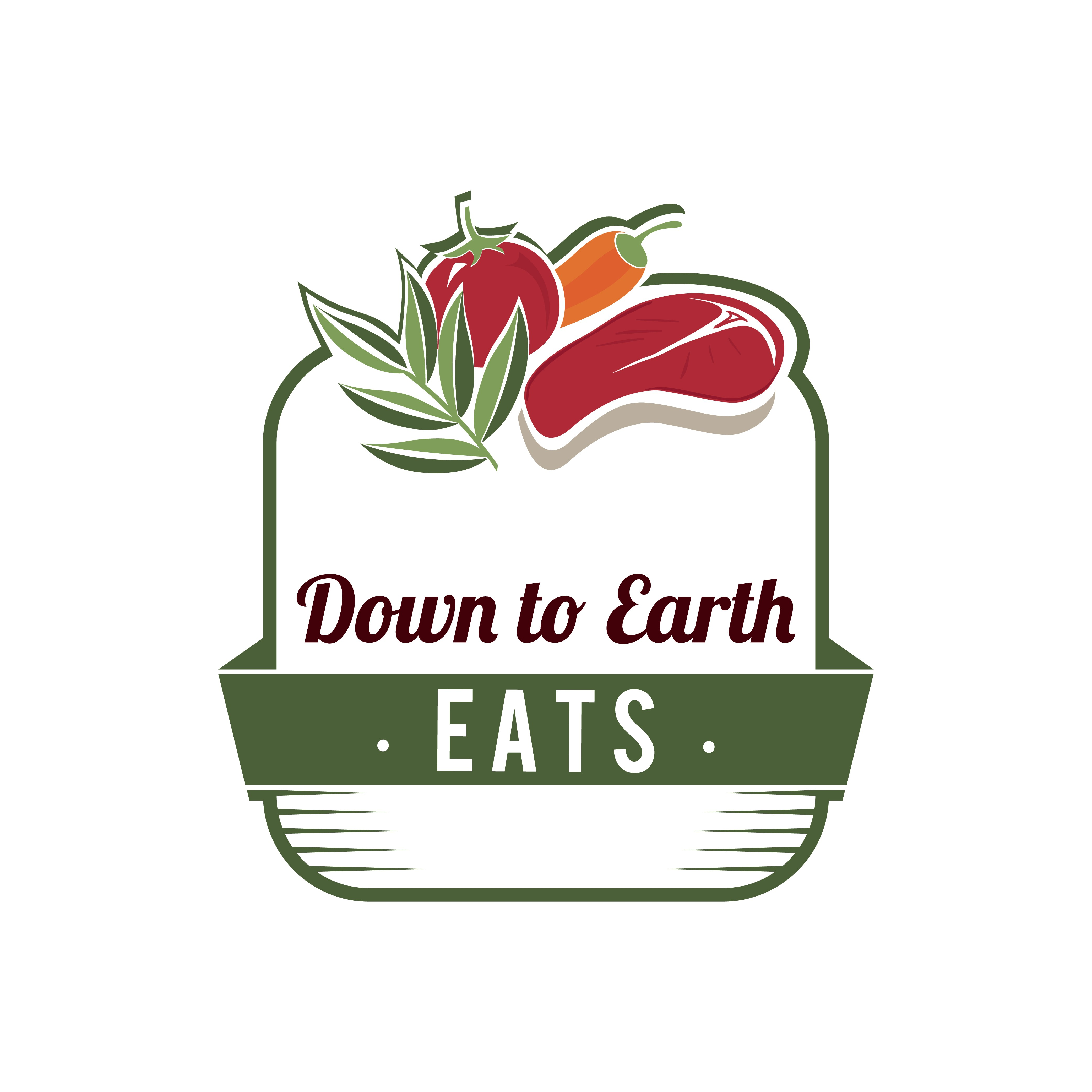 Create a logo for Down to Earth Eats, a Paleo site for regular people