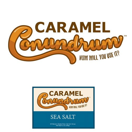Logo and label concept for a gourmet caramel company.
