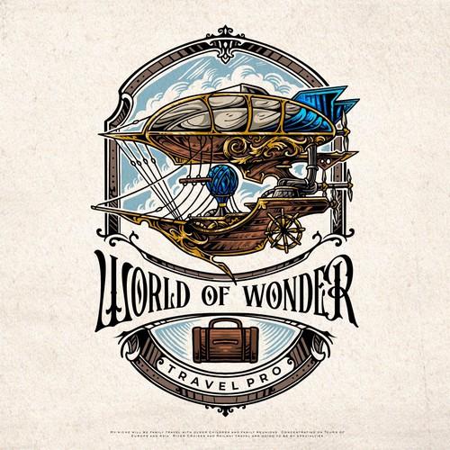 World of Wonder Travel Pro steampunk logo