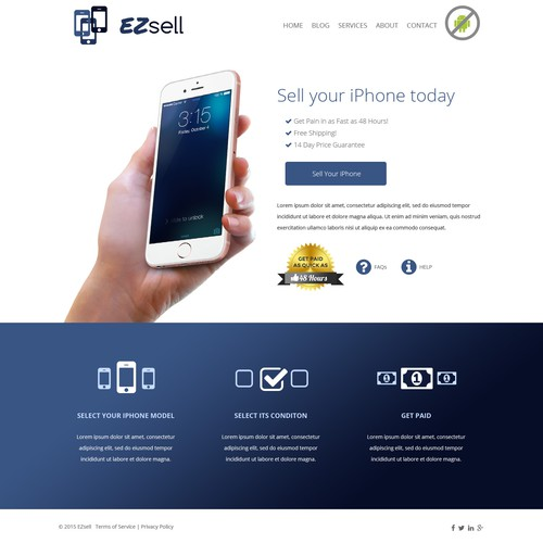 Landing page for a website that sells used iPhones