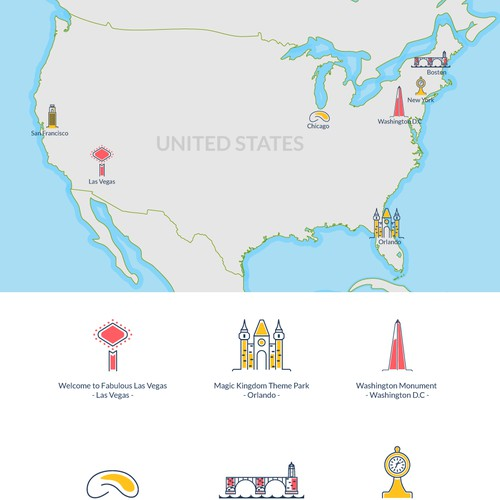 Beautiful vector illustrated US tourism map.