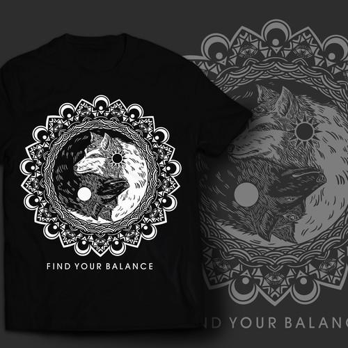 Aware wolf yin and yang