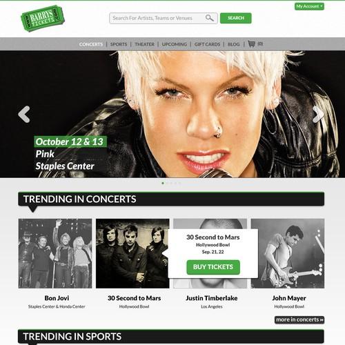 website design for Barry's Tickets