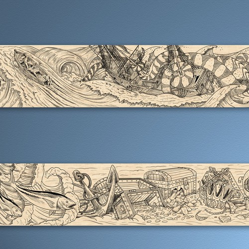 Wood burn art or mural line art