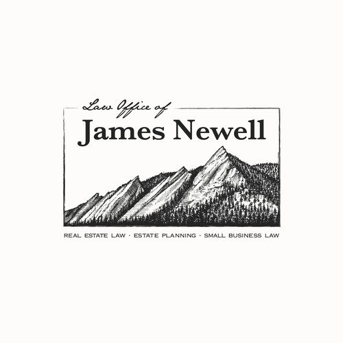 Hand-drawn logo for James Newell law office-
