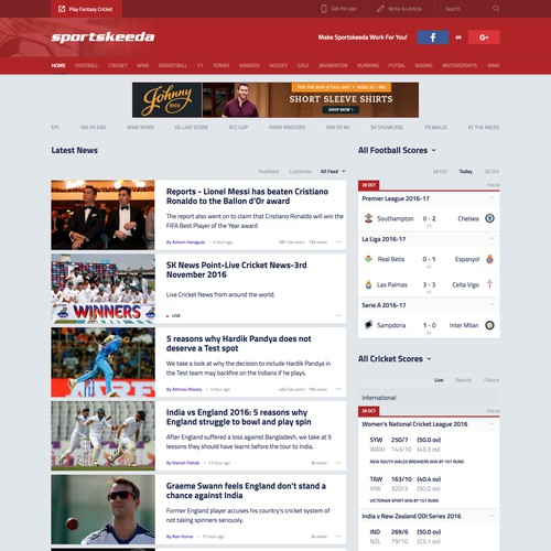 Sport News Website