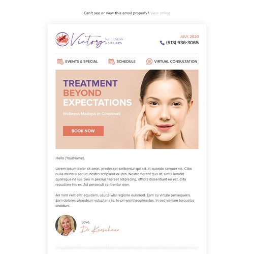 Email design for Victory Wellness