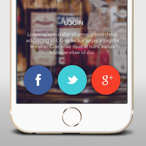 Login screen for bar app