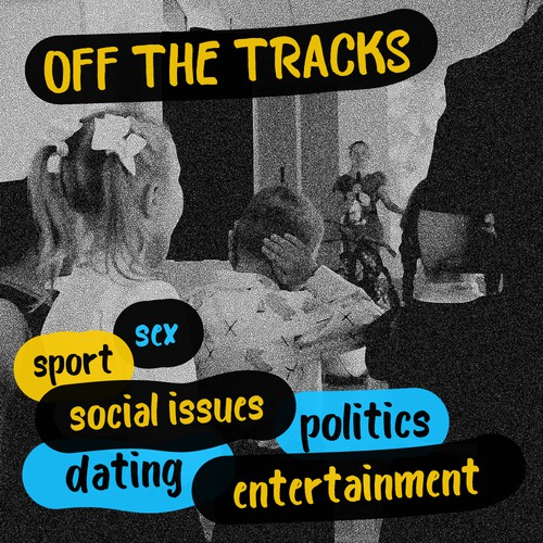 "Album artwork for ""Off The Tracks"" podcast x2"