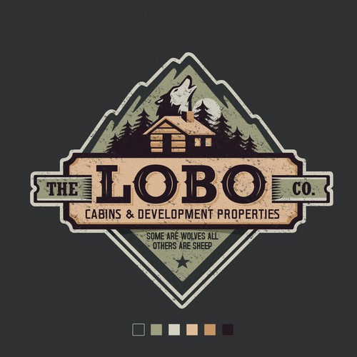 Vintage logo for a company that builds a small custom made off-grid cabins