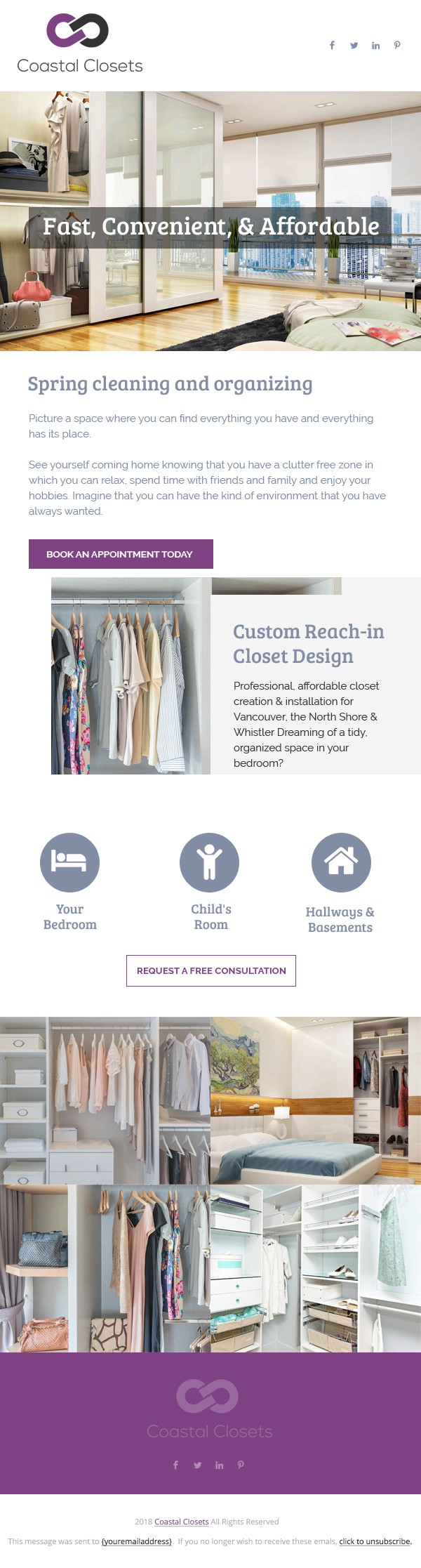 Design a feminine and stylish eblast for reach-in closets