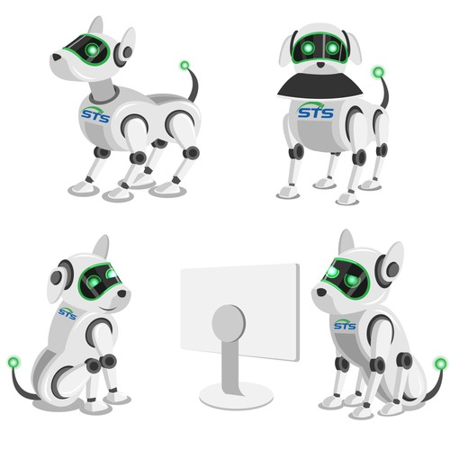 Robotic dog icon illustration