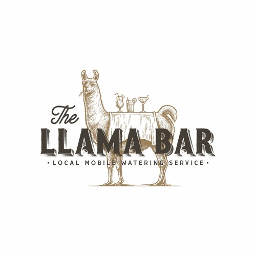 Vintage hand-drawn logo for The Llama Bar