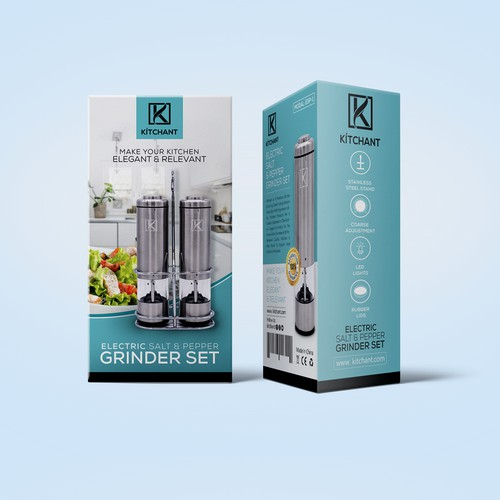 KÍTCHANT Electric Salt & Pepper Grinder Set Product Packaging
