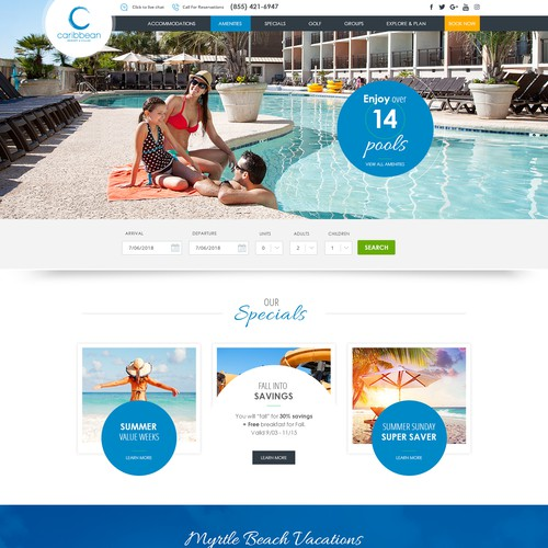 Caribbean Resort & Villas Word Press Website Design